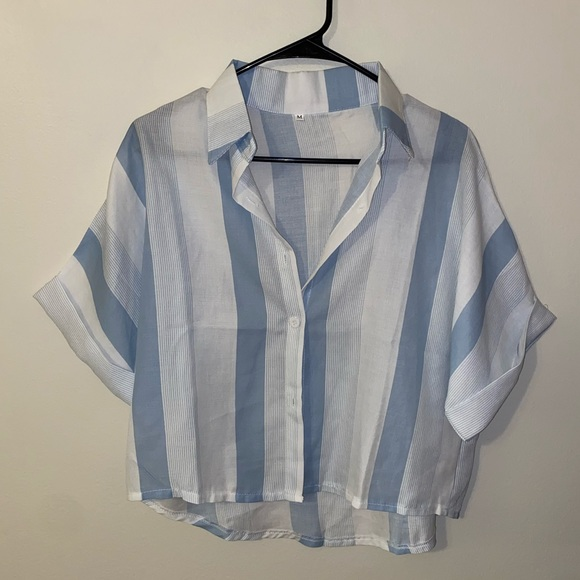 Striped Cropped Button Down